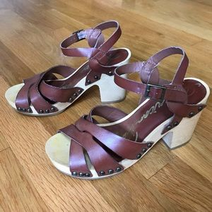 High Block Wood Heel Faux Leather Stud Sandal Clog